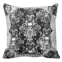 """Title : 40, Bling B&W, Skull wth Damask Background Print Throw Pillow  Description : My Customized Designs are Flat Prints, placed on Fabrics and/or other surfaces. Maximizing, Shadowing, and Visual Volume to create Depth, and Dimension. I create the Design and each product has its own description. """"Bling-Bling"""", """"Preppy-Fashions"""", """"Girly-Chic"""", """"Hip-Hop-Style"""", """"Fashion-Accents-Accessories"""", Monograms, """"Sparkle-Glitter-Shine"""", """"Jewels-Jewelry"""", Diamonds, """"Faux-Gemstones"""", Metallic, ..."""