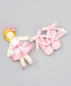 Take a look at this Light Pink Ballet Slippers & Girl Clips by Buttercream Babe on #zulily today!
