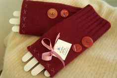 Fingerless Lambs Wool Gloves made from recycled by sbretro on Etsy, $25.00