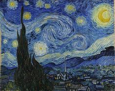 Van Gogh's night sky is a field of roiling energy. Below the exploding  stars, the village is a place of quiet order. Connecting earth and sky is  the flamel...