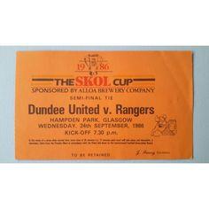 Dundee Utd v Rangers Football Ticket Stub 24/09/1986 Semi Final Skol Cup Listing in the Scottish Club Leagues & Cups,Ticket Stubs,Football (Soccer),Memorabilia & Fan Store,Sport Memorabilia & Cards Category on eBid United Kingdom