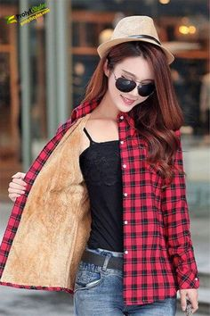 2019 Brand New Winter Warm Women Velvet Thicker Jacket Plaid Shirt Style Coat Female College Style Casual Jacket Outerwear - Red XXL Coats For Women, Jackets For Women, Clothes For Women, Jacket Style, Shirt Style, Jacket Pins, Flannel Jacket, Plaid Flannel, Flannel Shirts