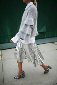Visibly Interesting: Silver Metallic Pleated Midi Skirt and Layered Bell Sleeve Sweater
