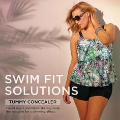 Flatter that mid-section with a plus size swimsuit from Avenue! Swimwear 2015, Plus Size Swimsuits, Swim Wear, Tankini, Thighs, Swimming, How To Wear, Clothes, Fashion