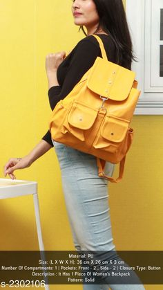 Backpacks Elegance PU Women's Backpack Material: PU Size: (L X W X H): 36 cm X 26 cm X 3 cm Number Of Compartments: 1 Pockets: Front - 2  Side - 2 Closure Type: Button Description : It Has 1 Piece Of Women's Backpack Pattern: Solid Country of Origin: India Sizes Available: Free Size *Proof of Safe Delivery! Click to know on Safety Standards of Delivery Partners- https://ltl.sh/y_nZrAV3  Catalog Rating: ★4.1 (2458)  Catalog Name: Myhra Elegance PU Women's Backpacks CatalogID_306970 C73-SC1074 Code: 872-2302106-