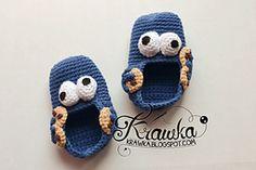 Ravelry: Baby booties - Cookie monster pattern by Kamila Krawka Krawczyk Free Tutorial ✿⊱╮Teresa Restegui http://www.pinterest.com/teretegui/✿⊱╮