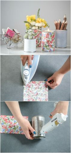 Fabric-Wrapped Tin Cans for Pennies, Flowers, Pencils, and Mor