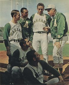 Joe DiMaggio - Oakland A's coach with Joe Rudi, Sal Bando, John Donaldson, Reggie Jackson and Rick Monday