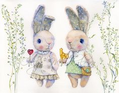 Watercolor illustration with toy rabbit