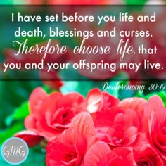 I have set before you life and death, blessings and curses. Therefore, choose life, that you and your offspring may live. Deuteronomy 30:19