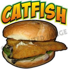 """14"""" Catfish Sandwich Concession Trailer Fast Food Fish Restaurant Sign Decal"""