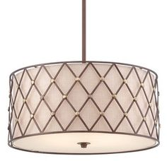 View the Quoizel BWL2822 Brown Lattice 4 Light Drum Pendant with Fabric Shade at LightingDirect.com.