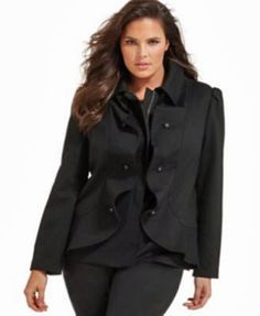 INC International Concepts Plus Size Jacket, Ruffled Zip Front Size OX XL