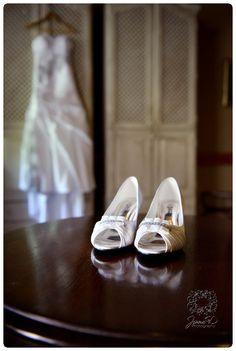 pretty bridal shoes;  riverside castel wedding photography