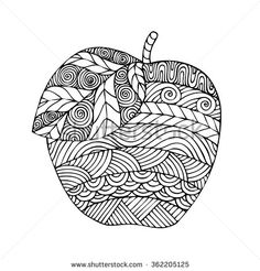 Adult coloring book page design with the image of an apple. Coloring book page for adult. Vector illustration in the style of zentangle, doodle, ethnic, tribal design.