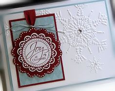Stampin Up; Christmas Card; Love the ribbon and silver cording.