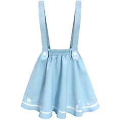 Futurino Women's Sweet Cat Paw Embroidery Pleated Mini Skirt with 2... ❤ liked on Polyvore featuring skirts, mini skirts, suspender, blue skirts, pleated miniskirt, blue mini skirt, embroidered skirt and wide pleated skirt