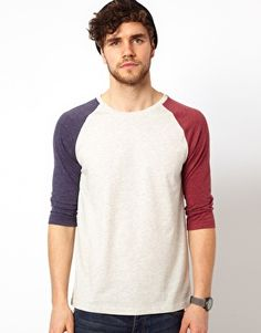ASOS 3/4 Sleeve T-Shirt With Contrast Raglan Sleeves