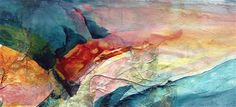 PINEAULT UNCOMMON ART: Mountain inspiration  -  acrylic collage on paper.  Original available framed.
