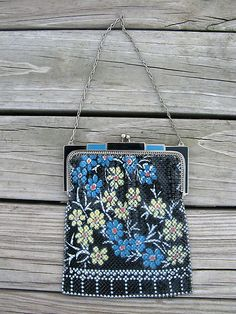 Whiting and Davis Mesh Purse with Flowers | eBay