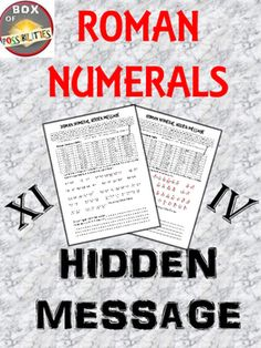 Make learning about Roman numerals fun with this hidden message from Julius Caesar. Your kids will love cracking this code. In cracking this code they will learn how to read Roman numerals.***************************************************************************This unit is part of my larger Roman unit.