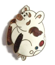 Cloisonné pig brooch pin, adorably whimsical - enamel.