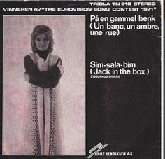 """Kirsti Sparboe - """"Pa en gammel benk"""", norwegian cover version of """"Un banc, un arbre, une rue"""", the winning song of the Eurovision Song Contest 1971 for Monaco, and """"Sim-sala-bim"""", norwegian cover version of the british entry """"Jack in the Box"""""""