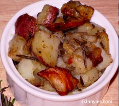 Homestyle Potatoes with Garlic and Rosemary - Make this recipe without heating up the house. Grab your slow cooker, add the ingredients...and out comes these crispy on the outside, and tender on the inside, pots!