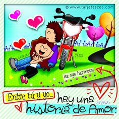 Imagen de amor para enamorados-Caro y David recostados en la moto © ZEA www.tarjetaszea.com