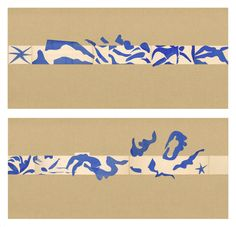 """[HENRI MATISSE (FRENCH, 1869-1954). THE SWIMMING POOL (LA PISCINE), LATE SUMMER 1952. MAQUETTE FOR CERAMIC (REALIZED 1999 AND 2005). GOUACHE ON PAPER, CUT AND PASTED, ON PAINTED PAPER. OVERALL 73 X 647"""" (185.4 X 1653.3 CM)."""