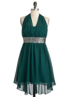 Two Short Days Dress - Green, Solid, Sequins, Formal, Party, Empire, Halter, Short, Chiffon, High-Low Hem, Cocktail, Holiday Party