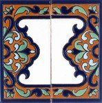 "Seville Wide Trim - (Pair) by Tierra Fina. $19.26. Maintenance Free High Visiability Water Proof Non Fading Frost Proof. Glaze Colors-Rich Terracotta-Cobalt blue-Sage green-Sky blue-Black outline on white background. 3""x 6"" Hand painted trim tiles created Cuerda Seca Style From Spain. Maintenance Free"
