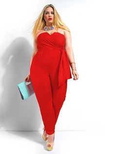"""""""Sydney"""" Strapless Jumpsuit -Red - Day Dresses - Clothing - Monif C"""