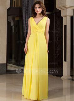 [£94.00] A-Line/Princess V-neck Floor-Length Chiffon Bridesmaid Dress With Ruffle