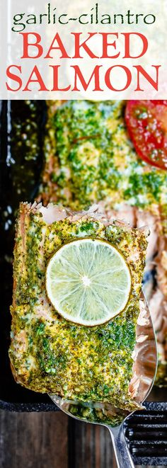 Baked Salmon Recipe with Garlic Cilantro Sauce   The Mediterranean Dish. An easy baked salmon covered in a special garlic cilantro sauce with a hint of citrus. Takes only 15 minutes start-to-finish! I make this one all the time, for weeknight dinner or a holiday dinner! See it on TheMediterraneanDish.com
