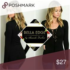 🆕 Black lace up front long sleeve top 95% RAYON 5% SPANDEX. Black long sleeve top with trendy lace up in front, gold grommets. Size small to medium. Bella Edge Boutique Tops Tees - Long Sleeve