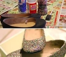 Glitter crafts - ballet flats. Wonder how life-tight the glitter actually is? My partner would kill me if I left trails of it around the house.