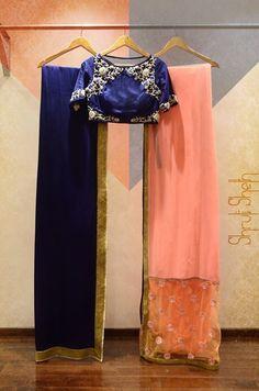 Shruti Sheth Couture Info & Review | Bridal Wear in Mumbai | Wedmegood navy and peach Lehenga