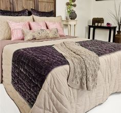 Waves Mauve and Natural DG37 - Features: 100% cotton cover, Polyfibre fill, Rayon trim Cool hand wash, Do not rub, wring, soak or bleach, Lay flat to dry away from direct sunlight, Hot iron on reverse side only, Dry cleaning recommended, Made in India. Set Contains: x1 Comforter - 260cm x 240cm x2 Standard Pillowshams - 48cm x 73cm - #coverletsandcomforters