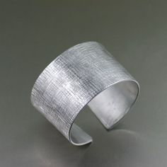 Linen Texturized Aluminum Cuff - Silver Tone Statement Bracelets - Aluminum Jewelry for Women - Anniversary Gifts by johnsbrana 10th Wedding Anniversary Gift, Anniversary Ideas, Anniversary Rings, Statements, Copper Jewelry, Fine Jewelry, Cheap Jewelry, Jewellery, Jewelry Rings