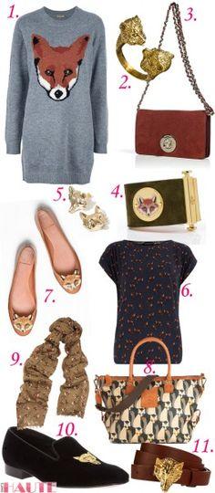 Feelin' foxy: Fox-inspired fashion and accessories, PETER JENSEN PJ FOX JUMPER DRESS GREY, BoyNYC Fox Ring, Mulberry Brown fox lock wallet c...