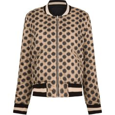 Isabel Marant Étoile Ecru Spot Dabney Bomber Jacket (€420) ❤ liked on Polyvore featuring outerwear, jackets, embroidered bomber jacket, zip bomber jacket, bomber jacket, blouson jacket and embroidered jacket