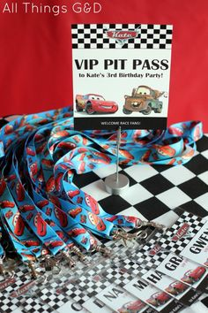 FREE Cars Birthday Party Printables - VIP Pit Passes | www.allthingsgd.com
