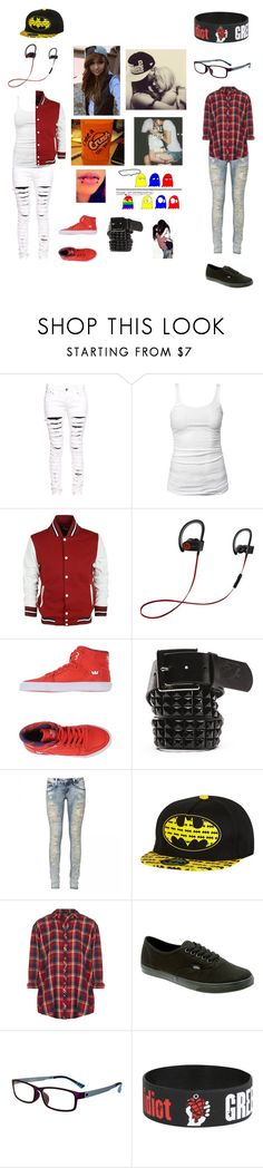 """Grace and Nadia"" by lackingingrace ❤ liked on Polyvore featuring Boohoo, James Perse, Beats by Dr. Dre, Supra, Vans, River Island, Topshop, GlassesUSA and Hot Topic"