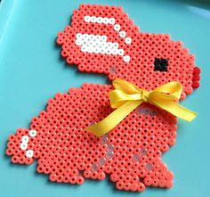 bunny with bow Melty Bead Patterns, Hama Beads Patterns, Beading Patterns, Perler Beads, Fuse Beads, Perler Bead Templates, Hama Beads Design, Iron Beads, Melting Beads