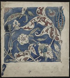 Like color palette and think how FD could define shapes. Design, probably for a tile panel.   De Morgan, William Frend   V&A Search the Collections
