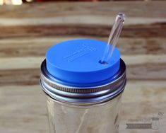 Mason Jar Lifestyle silicone straw hole tumbler lid with glass straw on Ball pint & half jar