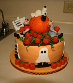 charlie+brown+and+the+great+pumpkin+cake | son requested a cake based on It's The Great Pumpkin, Charlie Brown ...