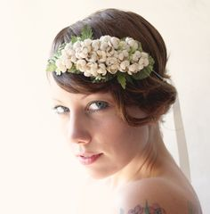 vintage ivory flower bridal crown - mayfair - wedding accessory, floral hair band. $75.00, via Etsy.