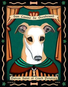 Greyhound Art  Patron Saint of Couch Potatoes  by RetroPetsGallery, $20.00